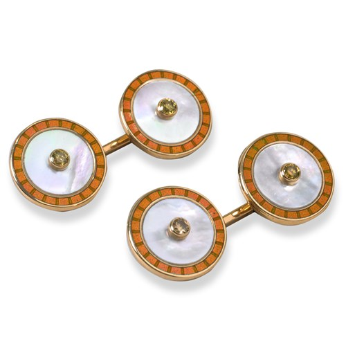 18k Enamel Mother of Pearl Diamond Cufflinks, Orange