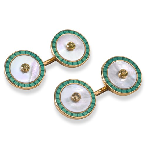 18k Enamel Mother of Pearl Diamond Cufflinks, Turquoise