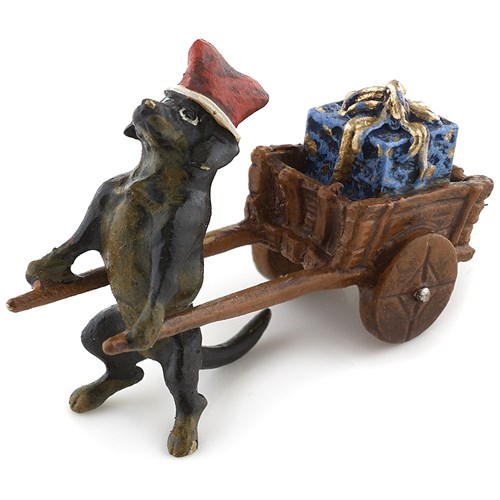 Austrian Bronze Dachshund with Cart of Gifts Figurine
