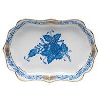 Herend Chinese Bouquet Blue Scalloped Tray, Mini