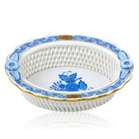 Herend Chinese Bouquet Blue Oval Openwork Basket, Large