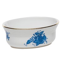 Herend Chinese Bouquet Blue Oval Bowl, Mini