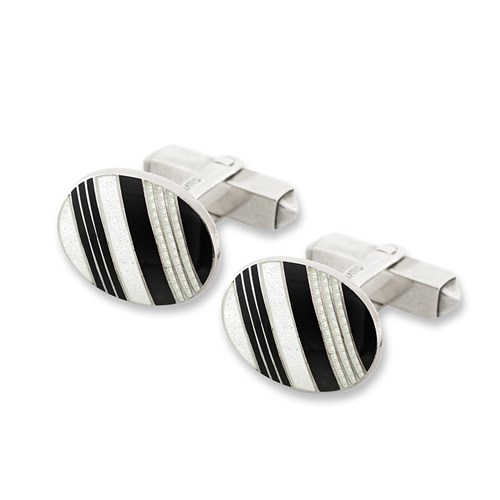 Sterling Silver Black & White Striped Oval Cufflinks