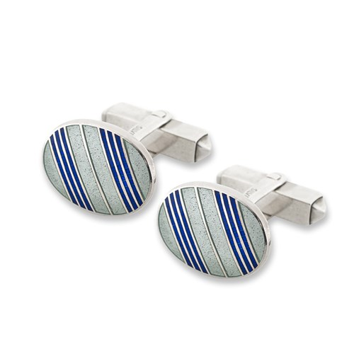 Sterling Silver Blue & White Striped Oval Cufflinks