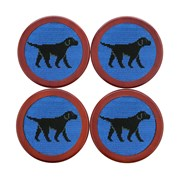 Black Labrador Needlepoint Coaster Set