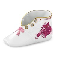 Herend Baby Shoe, Chinese Bouquet Raspberry
