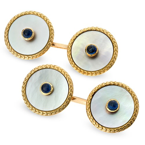 18k Gold Mother of Pearl Cufflinks with Cabochon Sapphire Center