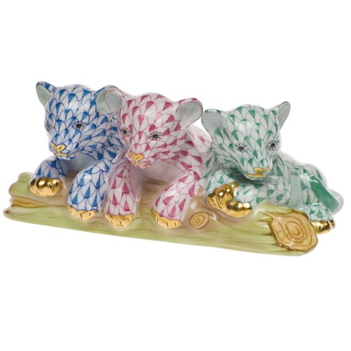 Herend Baby Siberian Tigers, Blue Raspberry & Green