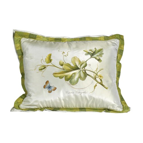 Handpainted Cucumbis Botanical Silk Pillow, with Butterfly