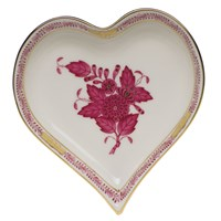 Herend Chinese Bouquet Raspberry Heart Shaped Dish