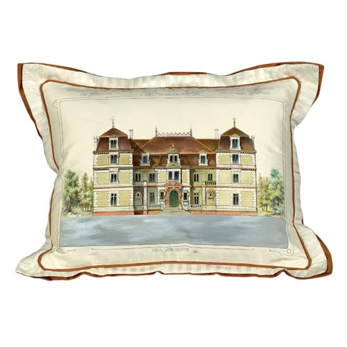 Handpainted Parisian House Silk Pillow, Brown Roof