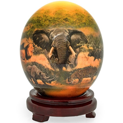 Decoupage Ostrich Egg with Lion, Rhino, Elephant & Leopard