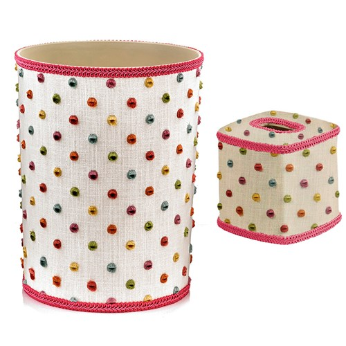 Dottie Pink Wastebasket & Tissue Box Cover
