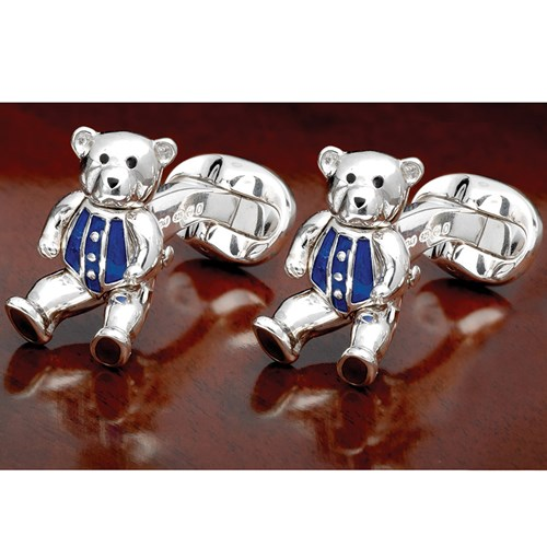 Sterling Silver and Enameled Moving Teddy Bear Cufflinks