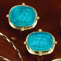 18k Gold Turquoise Murano Glass Earrings, Clips