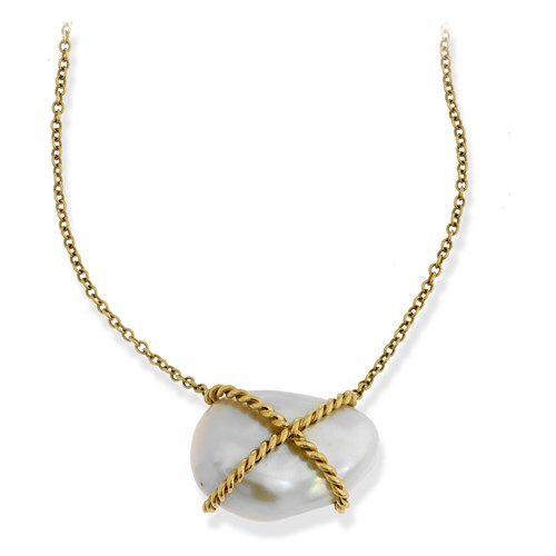 18k Yellow Gold Kiss Freshwater Pearl Necklace