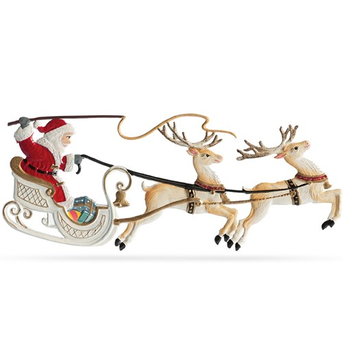 Pewter Santa in Sleigh with Two Reindeer Ornament