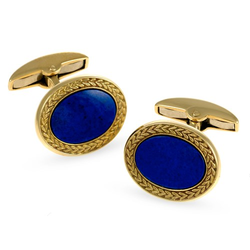 18k Gold Oval Lapis Cufflinks with Wreath Border