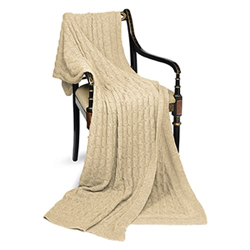 Cashmere Cable Throw, Beige