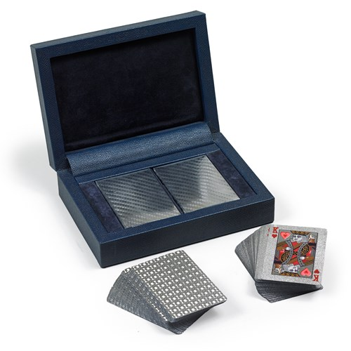 Playing Card Set with Case, Silver