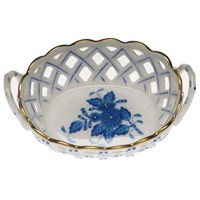 Herend Chinese Bouquet Blue Openwork Basket, Small