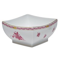 Herend Chinese Bouquet Raspberry Square Bowl, Large