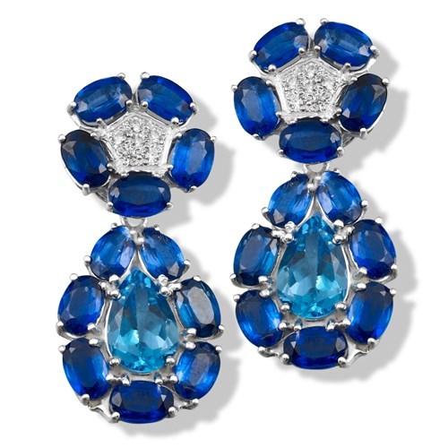 18k White Gold Pear Iolite Earrings with Blue Topaz, Clips