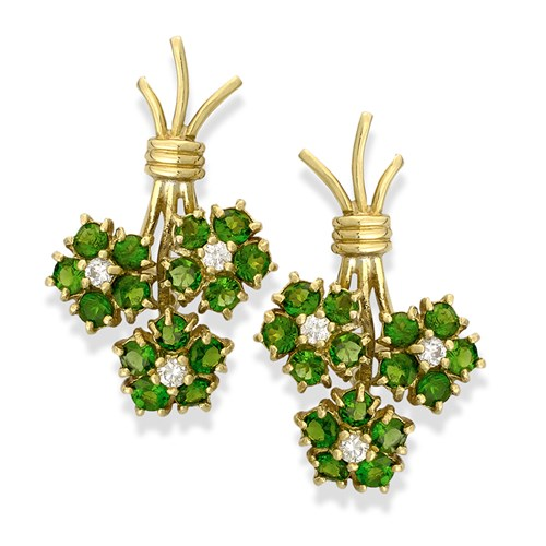 18K yellow gold clips, chrome diopside and diamonds