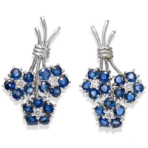 18K white gold clips, blue sapphires and diamonds