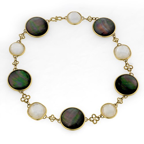 18k Yellow Gold Faceted Crystal & Mother of Pearl Twilight Necklace