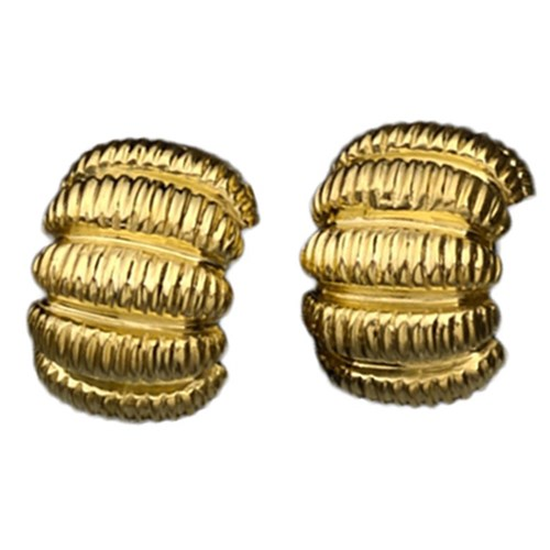 18k Gold Ribbed Earrings, Clips