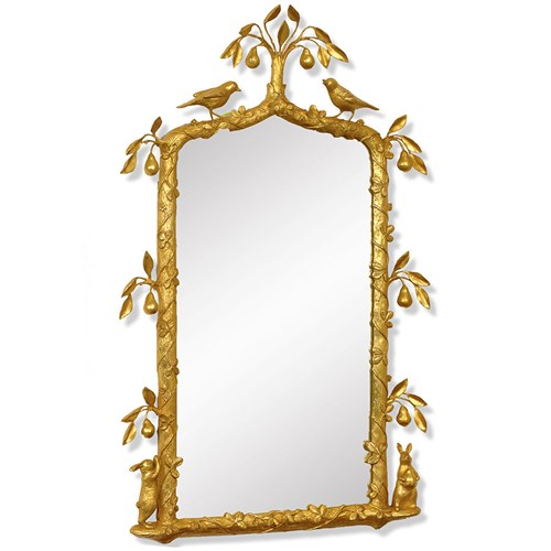 In a Pear Tree Mirror, Antique Gold