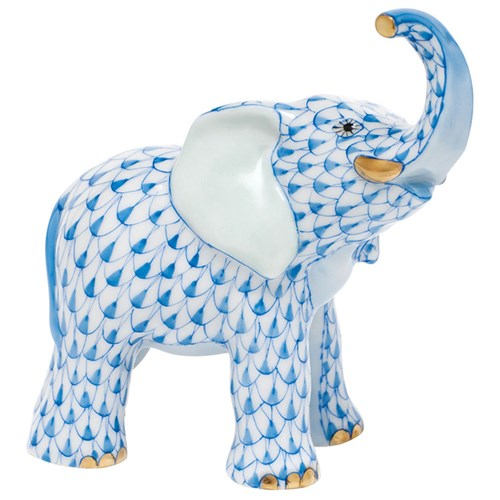 Herend Young Elephant, Blue