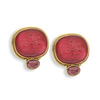 18k Gold Red Murano Glass Earrings, Posts