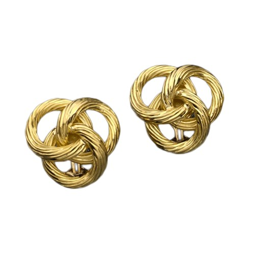 Fluted Interlocking Knots Gold Earrings
