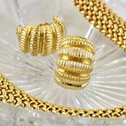 18k Gold Ribbed Earrings