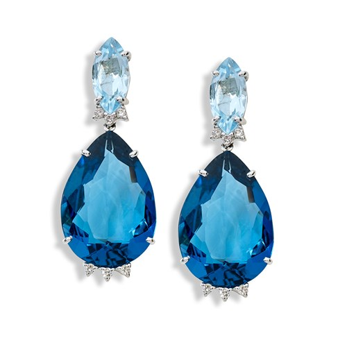 18K White Gold Pear Drop Blue Topaz Diamond Earrings
