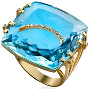 18K Gold Blue Topaz & 2-Band Diamond Cocktail Ring