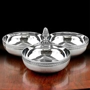 Christofle Malmaison Silverplated Three Bowl Server