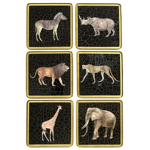 African Wildlife Square Glass Coasters