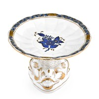 Herend Chinese Bouquet Black Sapphire Blue Shell with Dolphin Stand
