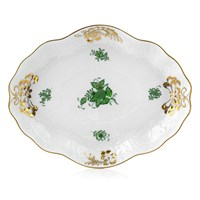 Herend Chinese Bouquet Green Baroque Dish / Tray