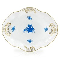 Herend Chinese Bouquet Blue Baroque Tray
