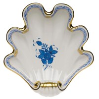 Herend Chinese Bouquet Blue Shell Dish