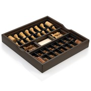 Italian Wood and Leather Chess Set