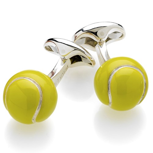 Sterling Silver & Enamel Tennis Ball Cufflinks