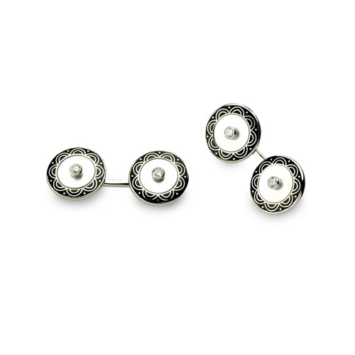 18k White Gold Cufflinks with Sapphire Center