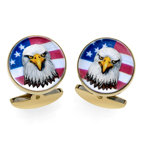 18k Gold Crystal American Bald Eagle Cufflinks