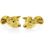 18k Gold Pig Head Cufflinks with Movable Parts