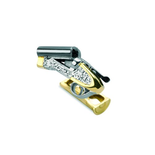 18k Yellow Gold Cocked Gun & Cartridge Cufflinks